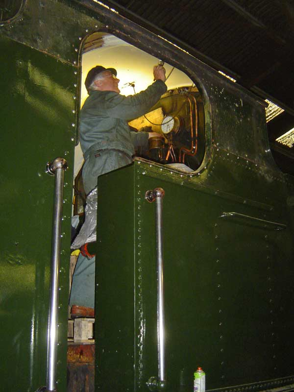 Painting the inside of the cab.