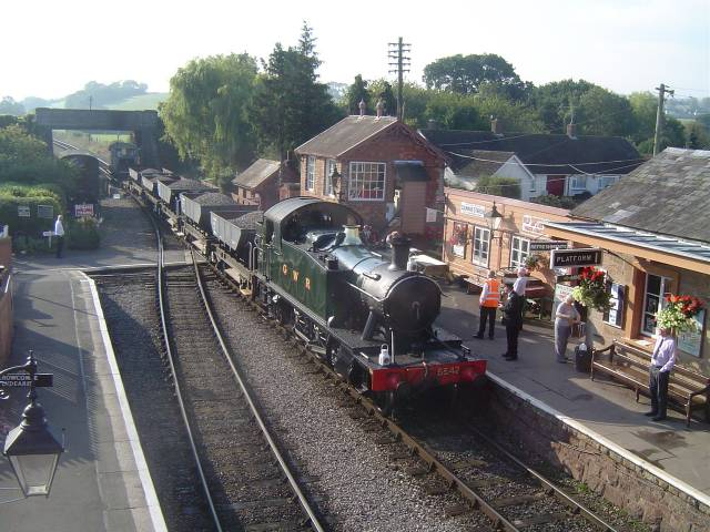 5542 with an engineers train at Williton