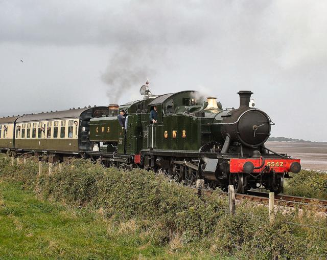 5542 and 9466 near Donniford, West Somerset Railway