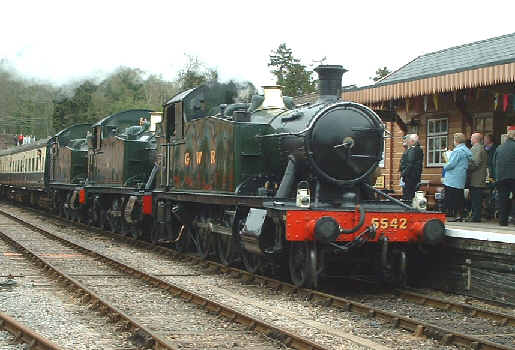 3 of a kind - small prairies 5542, 5552 and 5553 at Bishops Lydeard, WSR