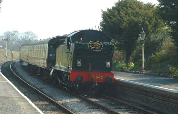 5542 working a Returned to Steam special at Blue Anchor, West Somerset Railway